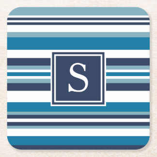 Blue and White Multi Stripe Monogram Square Paper Coaster