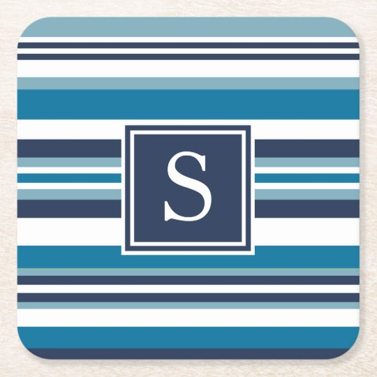 Blue and White Multi Stripe Monogram Square Paper