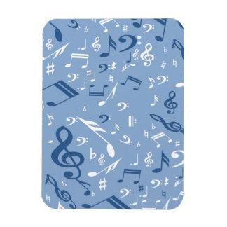 Blue and White Music Notes Random Pattern Rectangular Photo Magnet