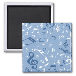 Blue and White Music Notes Random Pattern Square Magnet