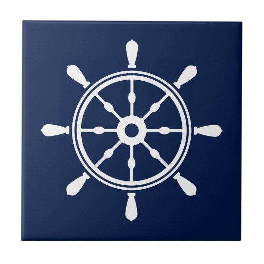 Blue and White Nautical Ceramic Tile - Ship