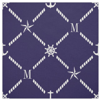 Blue and White Nautical Monogram Fabric