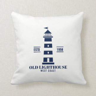 Blue and White Nautical Pillow, Lighthouse Badge Cushion