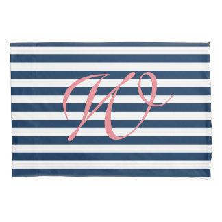 Blue and white nautical stripe monogram pillowcase