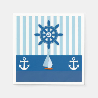 Blue and White Nautical  themed Monogramed design. Disposable Serviette