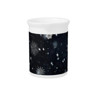 Blue and White Night Sky Snowflakes Beverage Pitcher
