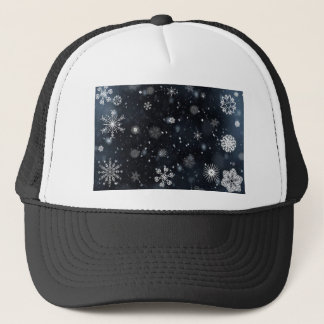 Blue and White Night Sky Snowflakes Trucker Hat