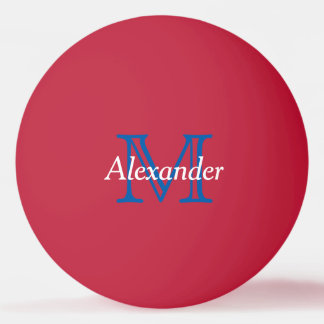 Blue and White on Red Monogram Ping Pong Ball