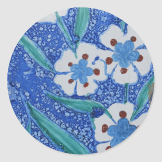 Blue and White Ottoman Ceramic TILE,18th century Round Sticker