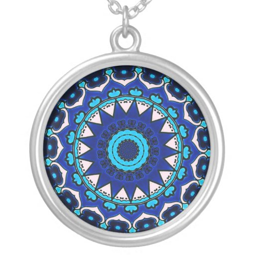 BLUE AND WHITE Ottoman TILE DESIGN STAR Round Pendant Necklace