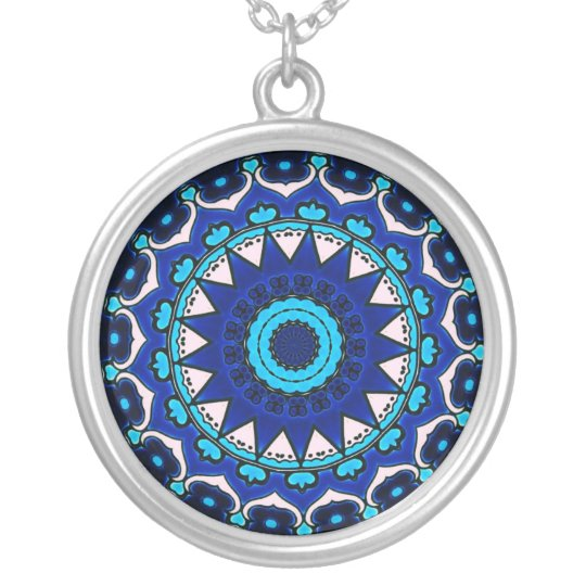 BLUE AND WHITE Ottoman TILE DESIGN STAR Silver Plated Necklace