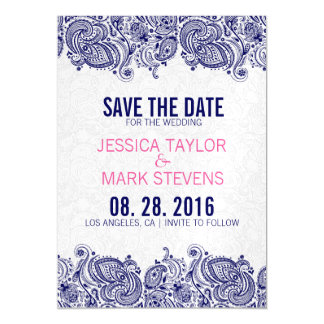 Blue And White Paisley Lace & Damasks Magnetic Invitations