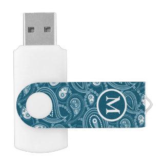 Blue and White Paisley Monogram USB Flash Drive