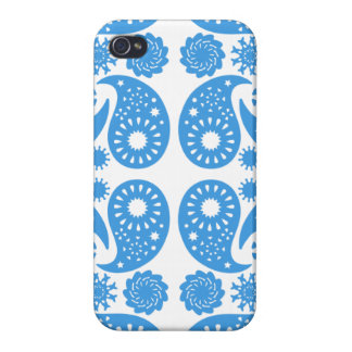 Blue and White Paisley Pattern. iPhone 4/4S Cases