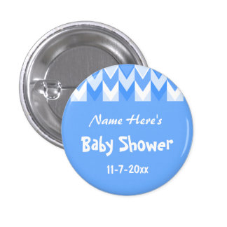 Blue and White Pattern Blue Chevron Baby Shower 3 Cm Round Badge