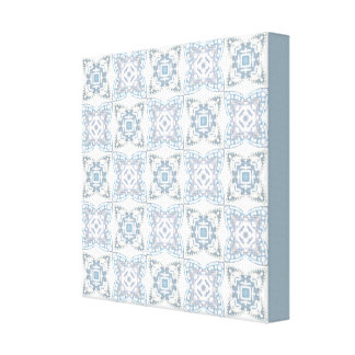 Blue and White Patterned Canvas