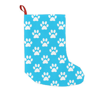 Blue and white paws pattern small christmas stocking