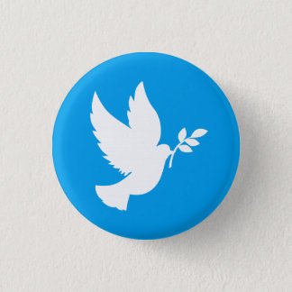 Blue and White Peace Dove 3 Cm Round Badge