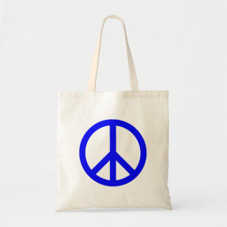 Blue and White Peace Symbol Budget Tote Bag