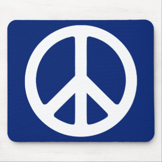 Blue and White Peace Symbol Mouse Mat