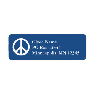 Blue and White Peace Symbol Return Address Label