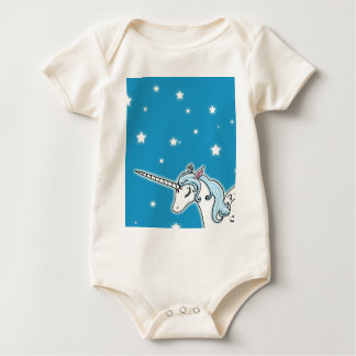 Blue and white Pegasus Unicorn Baby Bodysuit
