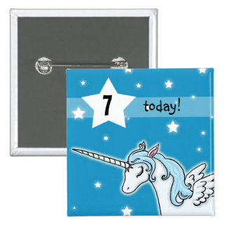Blue and white Pegasus Unicorn Birthday age 15 Cm Square Badge