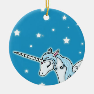 Blue and white Pegasus Unicorn Christmas Ornament