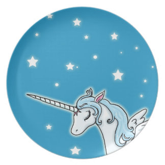 Blue and white Pegasus Unicorn Dinner Plates