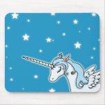 Blue and white Pegasus Unicorn Mousepads
