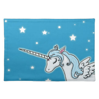 Blue and white Pegasus Unicorn Placemat