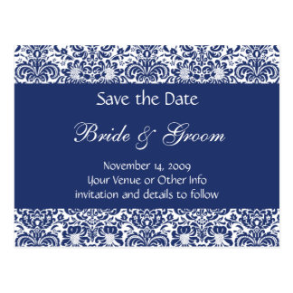 Blue and White Personalised Damask Save the Date Postcards