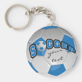 Blue and White Personalize Soccer Ball Basic Round Button Key Ring