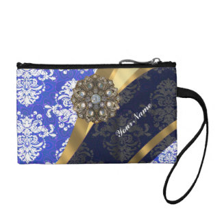 Blue and white personalized pretty damask pattern coin purse