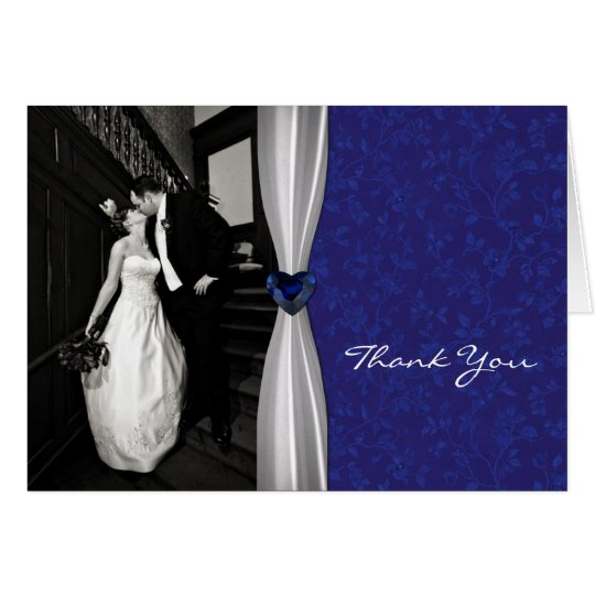 Blue and White Photo Thank You Card