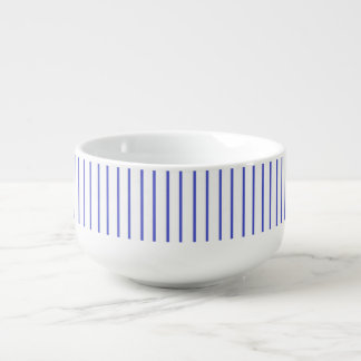 Blue and White Pinstripe Soup Mug