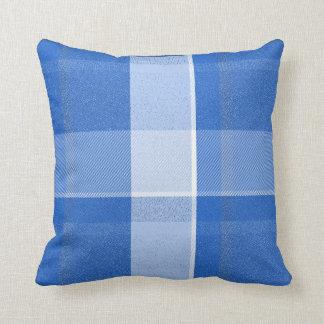 Blue and White Plaid Throw Pillow