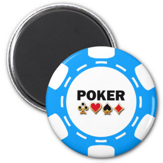 BLUE AND WHITE POKER CHIP 6 CM ROUND MAGNET