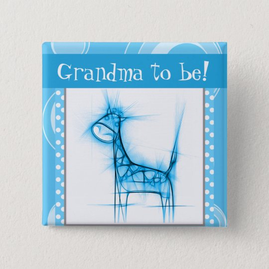 Blue and White Polka Dot Giraffe 15 Cm Square Badge