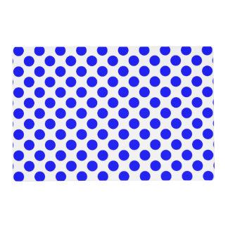 Blue and White Polka Dot Laminated Place Mat