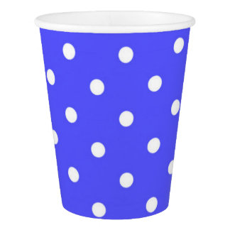 Blue and white polka dot modern glamour paper cup