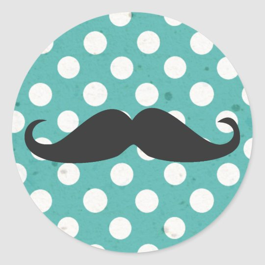 Blue and White Polka Dot Moustache Classic Round