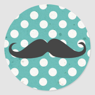 Blue and White Polka Dot Mustache Round Sticker