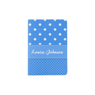 Blue and White Polka Dot Passport Holder