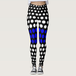 Blue and White Polka Dot Pattern Leggings