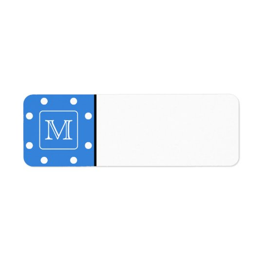 Blue and White Polka Dot Pattern Monogram. Custom.