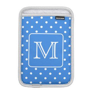 Blue and White Polka Dot Pattern Monogram. Custom. iPad Mini Sleeve