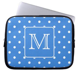 Blue and White Polka Dot Pattern Monogram. Custom. Laptop Sleeve