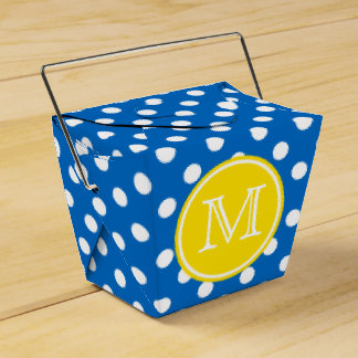 Blue and White Polka Dot With Yellow Monogram Party Favour Box