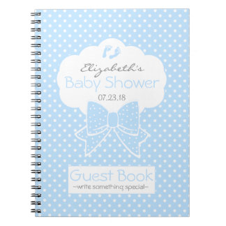Blue and White Polka Dots Baby Shower Guest Book- Spiral Notebook